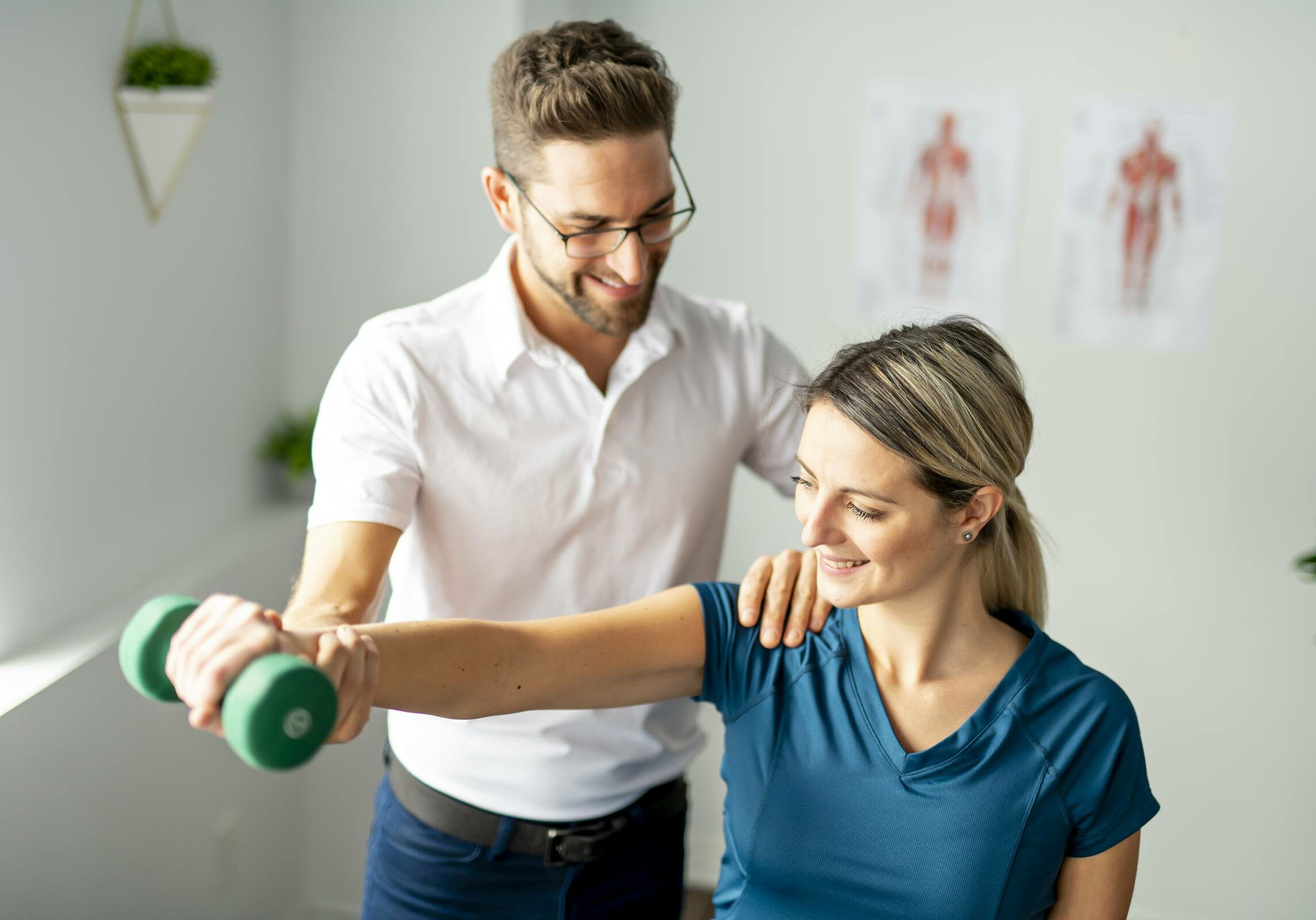 Modern rehabilitation physiotherapy man at work